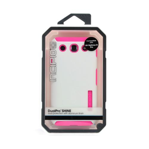Incipio White/ Hot Pink Dual PRO Shine Series Brushed Aluminum Hard Case on Silicone Skin w/ Screen Protector for LG Optimus G Pro - LGE-189