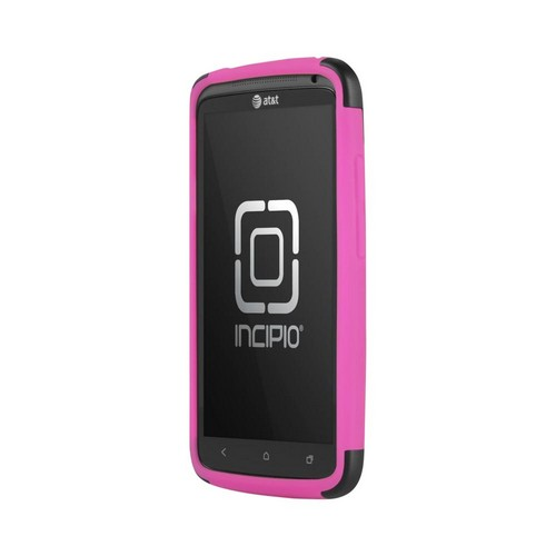 Incipio Silicrylic HTC One X Hard Case on Silicone w/ Screen Protector - Black on Hot Pink