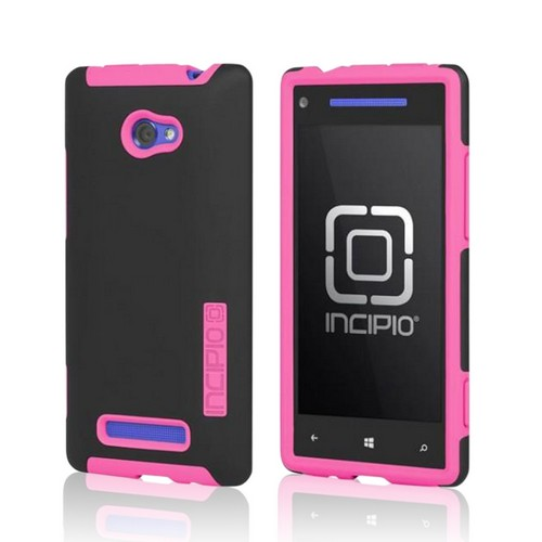 Incipio Black/ Pink Dual PRO Series Hard Case on Silicone w/ Screen Protector for HTC 8X