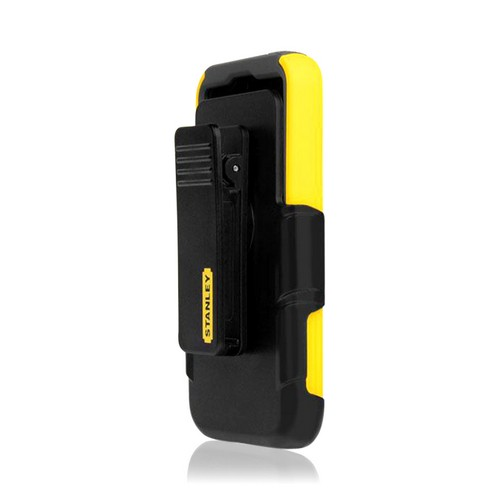 Yellow/ Black Rugged Hard Case on Silicone w/ Holster & Screen Protector OEM Incipio for Apple iPhone 5 Stanley Highwire Series