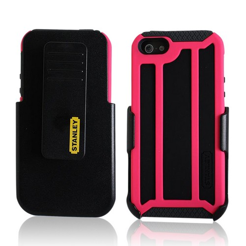 Hot Pink/ Black Rugged Hard Case on Silicone w/ Holster & Screen Protector OEM Incipio for Apple iPhone 5 Stanley Highwire Series