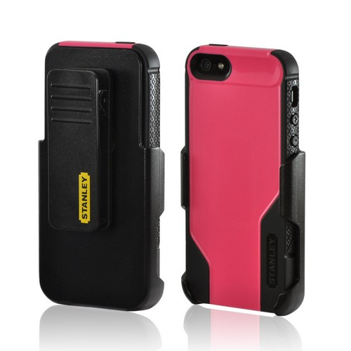Hot Pink/ Black Rugged Hard Case on Silicone w/ Holster & Screen Protector OEM Incipio for Apple iPhone 5/5S Stanley Technician Series