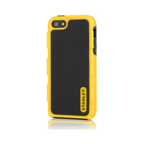 Stanley Yellow/ Black Foreman Series Rugged Hard Case on Silicone w/ Holster & Screen Protector for Apple iPhone 5/5S