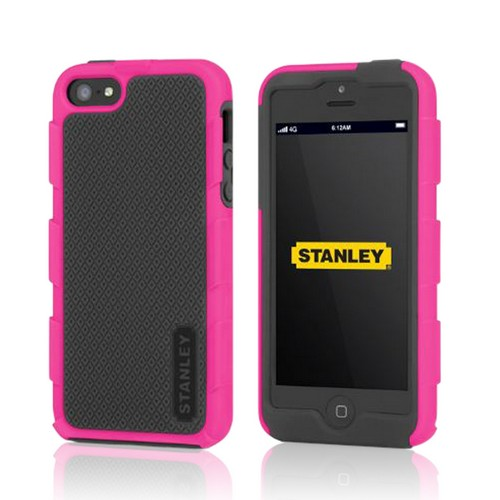 Stanley Hot Pink/ Black Foreman Series Rugged Hard Case on Silicone  w/ Holster & Screen Protector for Apple iPhone 5/5S