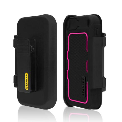 Hot Pink/ Black Rugged Silicone Cover on Hard Case w/ Holster & Screen Protector for Apple iPhone 5/5S Incipio Stanley Dozer Series