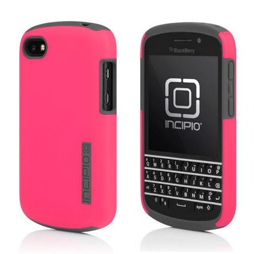 OEM Incipio Hot Pink/Gray DualPro Hard Case Over Silicone w/ Screen Protector for Blackberry Q10