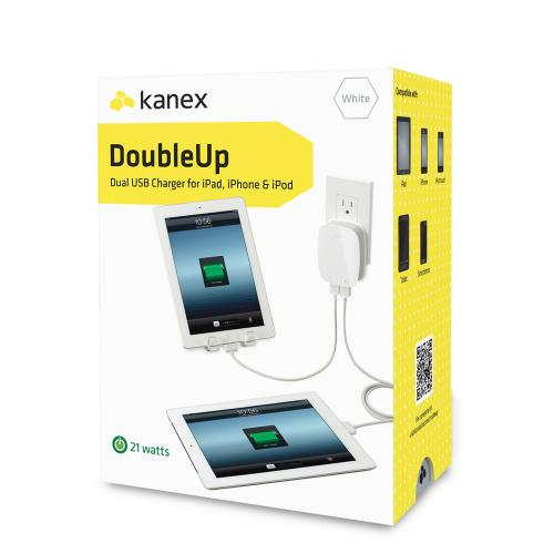Kanex DoubleUp Dual 2.1A USB Wall Charger w/ Dual LED Indicators - Charge 2 Tablets at once!