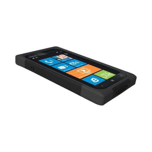 OEM Trident Aegis Nokia Lumia 900 Hard Case Over Silicone w/ Screen Protector - Black