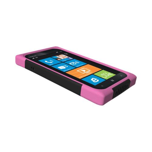 OEM Trident Aegis Nokia Lumia 900 Hard Case Over Silicone w/ Screen Protector - Pink/ Black