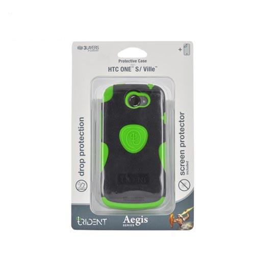 Original Trident HTC One S Aegis Hard Case Over Silicone w/ Screen Protector, AG-VILLE-TG - Lime Green/ Black