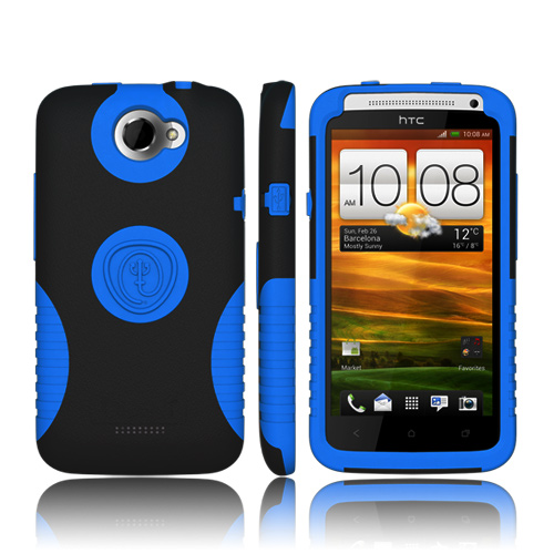 Trident Aegis HTC One X Hard Case Over Silicone w/ Screen Protector - Blue/ Black