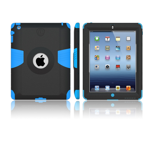 Trident AMS Apple New iPad Hard Case Over Silicone w/ Screen Protector - Black/ Blue