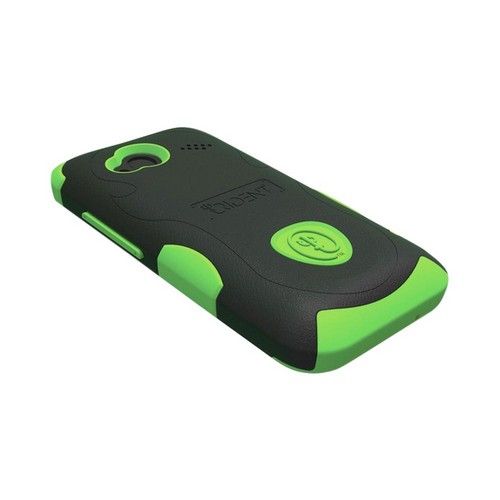Trident Aegis HTC Droid Incredible 4G LTE Hard Case Over Silicone w/ Screen Protector - Lime Green/ Black