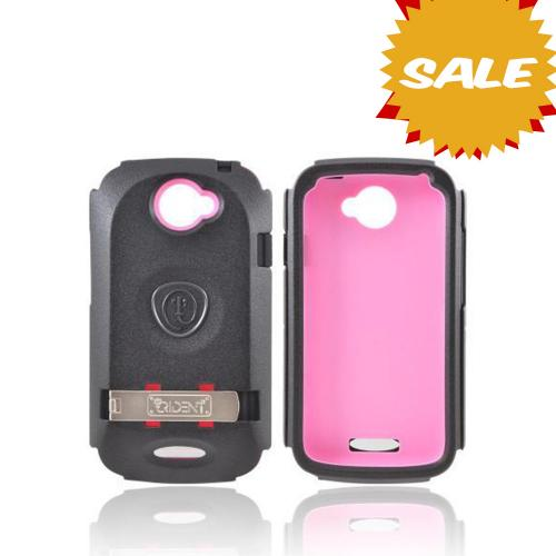 OEM Trident Kraken AMS HTC One S Hard Case Over Silicone w/ Screen Protector, Kickstand, & Belt Clip - Pink/ Black