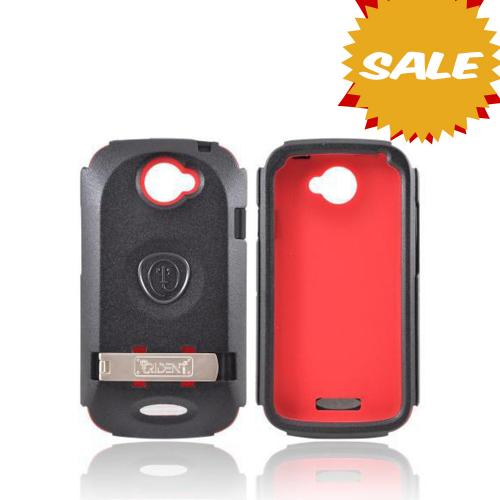 OEM Trident Kraken AMS HTC One S Hard Case Over Silicone w/ Screen Protector, Kickstand, & Belt Clip - Red/ Black