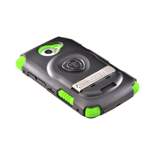 OEM Trident Kraken AMS HTC One X Hard Case Over Silicone w/ Screen Protector, Kickstand & Belt Clip - Lime Green/ Black
