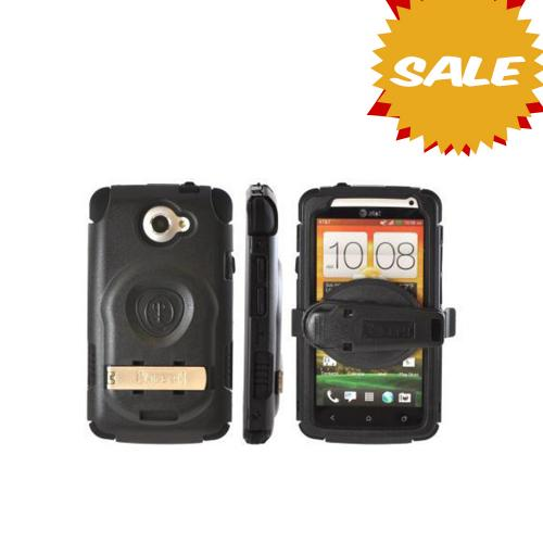 OEM Trident Kraken AMS HTC One X Hard Case Over Silicone w/ Screen Protector, Kickstand & Belt Clip - Black