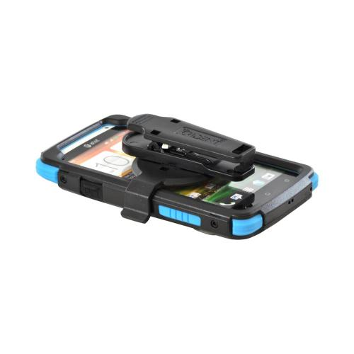 OEM Trident Kraken AMS HTC One X Hard Case Over Silicone w/ Screen Protector, Kickstand & Belt Clip - Blue/ Black