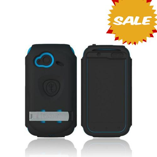 OEM Trident Kraken AMS HTC Droid Incredible 4G LTE Hard Case Over Silicone w/ Screen Protector, Kickstand & Belt Clip - Black/ Blue
