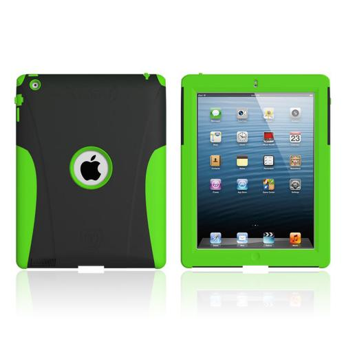 Lime Green/ Black Trident Aegis Series Hard Cover on Silicone Skin Case w/ Screen Protector for Apple iPad 2/3/4 - AG-NEW-IPAD-TG