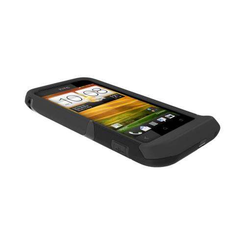 OEM Trident Aegis HTC One V Hard Cover Over Silicone Case w/ Screen Protector - Black