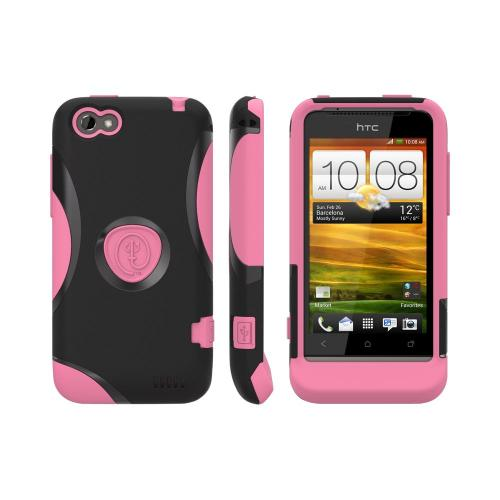 OEM Trident Aegis HTC One V Hard Cover Over Silicone Case w/ Screen Protector - Pink/ Black