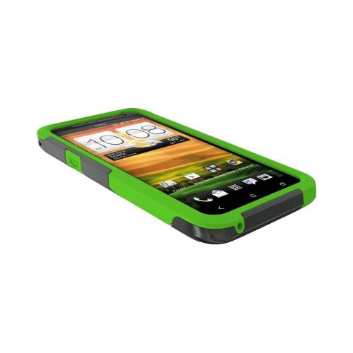 OEM Trident Aegis HTC EVO 4G LTE Hard Case Over Silicone w/ Screen Protector - Green/ Black