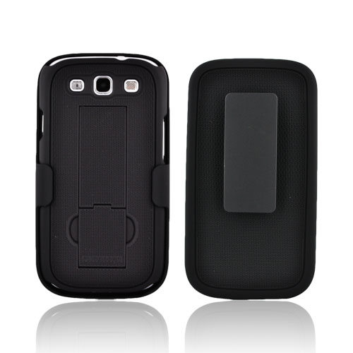PureGear Samsung Galaxy S3 Rubberized Hard Kickstand Case w/ Holster - Black