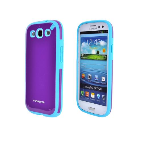 OEM PureGear Samsung Galaxy S3 Slim Shell Hybrid Hard Case, 02-001-01766 - Purple/ Turquoise
