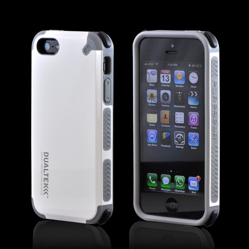 OEM PureGear Apple iPhone 5/5S DualTek Extreme Shock Hybrid Hard Case w/ Screen Protector - White/ Gray