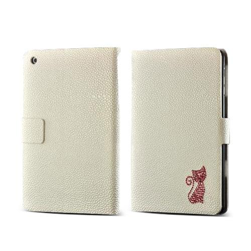 White w/ Pink Gem Cat Faux Leather Diary Flip Case w/ Pebbled Texture & ID Slots for Apple iPad Mini 1/2