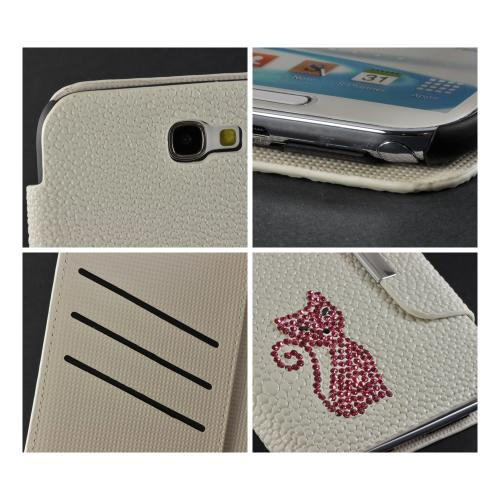 White w/ Pink Gem Cat Faux Leather Diary Flip Case w/ Pebbled Texture & ID Slots for Samsung Galaxy Note 2