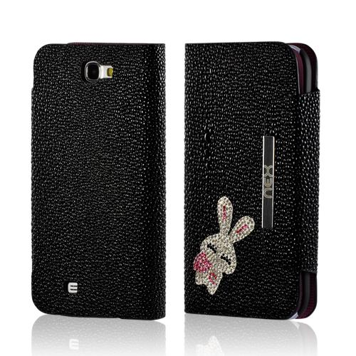 Black w/ Silver Gem Bunny Faux Leather Diary Flip Case w/ Pebbled Texture & ID Slots for Samsung Galaxy Note 2