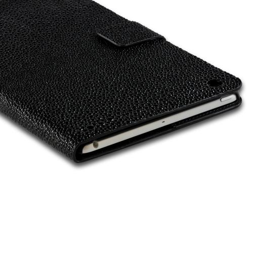 Black w/ Silver Gem Cat Faux Leather Diary Flip Case w/ Pebbled Texture & ID Slots for Apple iPad Mini 1/2/3