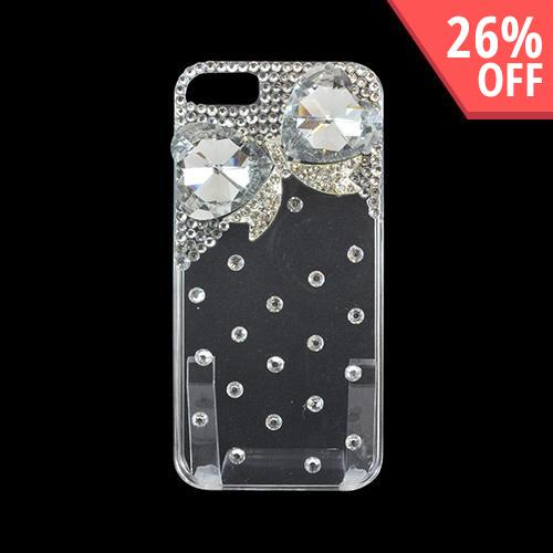 Apple iPhone 5/5S Clear Hard Back Case w/ Bling - Clear Gem Hearts with Silver
