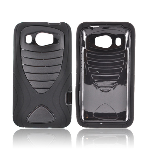 HTC Titan 2 Silicone Over Hard Case w/ Drop Protection - Black