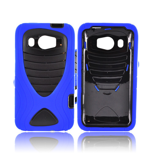 HTC Titan 2 Silicone Over Hard Case w/ Drop Protection - Blue/ Black