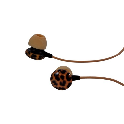 OEM iHip Chic Leopard Earbud Headset (3.5mm), IP-EP48-LEOP - Orange/ Black Leopard