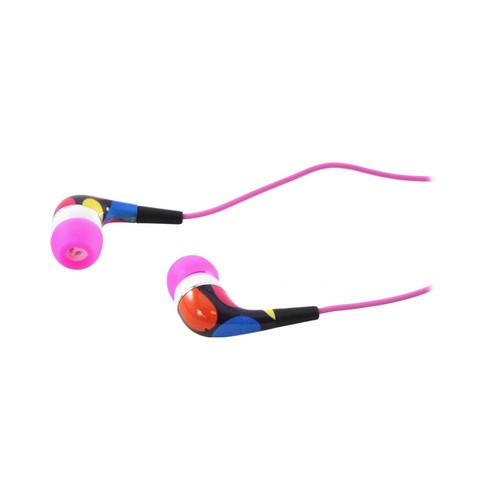 OEM iHip Urban Earplugz Earbud Stereo Headset (3.5mm), IP-URBAN-DOTP - Pink Polka Dots
