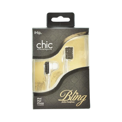 OEM iHip Chic Bling Earbud Headset (3.5mm), IP-BLINGEP-ZEB-BK - Black/ Silver