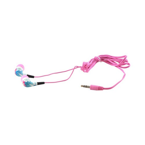 OEM iHip Urban Earplugz Earbud Stereo Headset (3.5mm), IP-URBAN-FLIP - Blue/ Pink Flowers