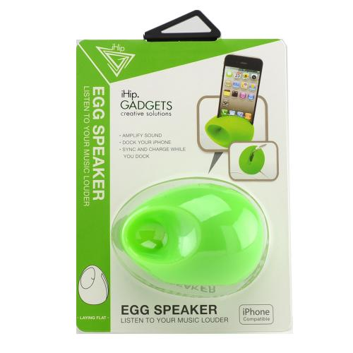 iHip Lime Green Silicone Egg Amplifier Speaker Stand for Apple iPhone 4/4S/5/5S/SE
