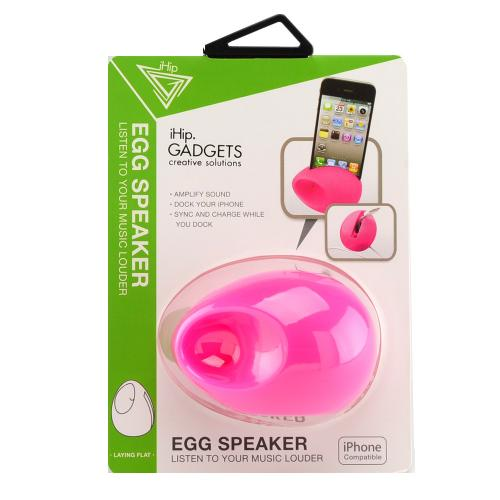 iHip Baby Pink Silicone Egg Amplifier Speaker Stand for Apple iPhone 4/4S/5/5S/SE