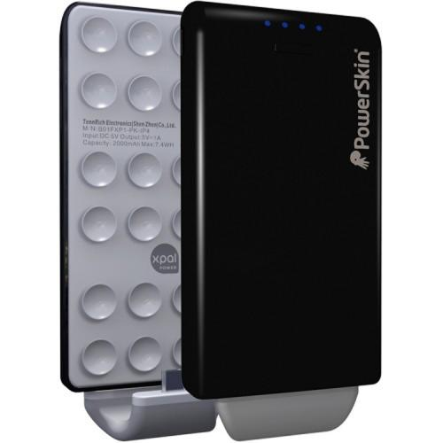 Black PowerSkin PoP'n Go Attachable External Battery (2000 mAh) for Micro USB Devices Like Samsung, Motorola, Sony & LG