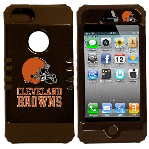 Cleveland Browns Rocker Series Black Hard Case Shell on Brown Silicone Skin Case for Apple iPhone 5/5S - NFL Licensed