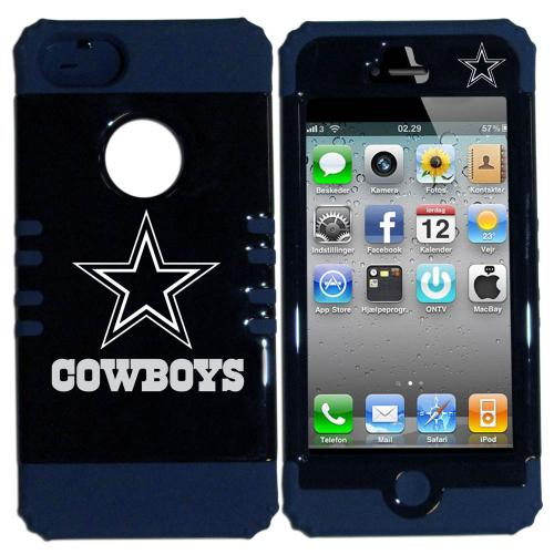 Dallas Cowboys Rocker Series Black Hard Case Shell on Blue Silicone Skin Case for Apple iPhone 5/5S - NFL Licensed