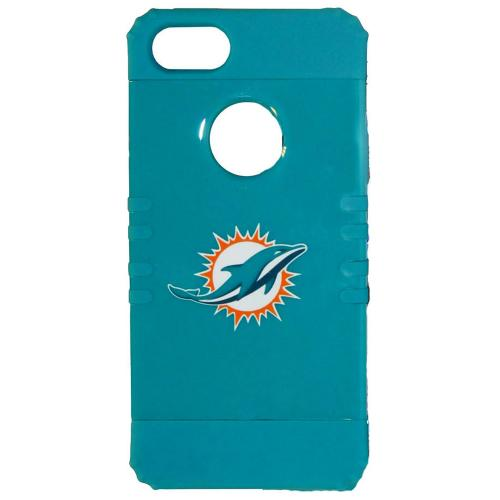 Miami Dolphins Rocker Series Teal Hard Case Shell on Teal Silicone Skin Case for Apple iPhone 5/5S - NFL Licensed