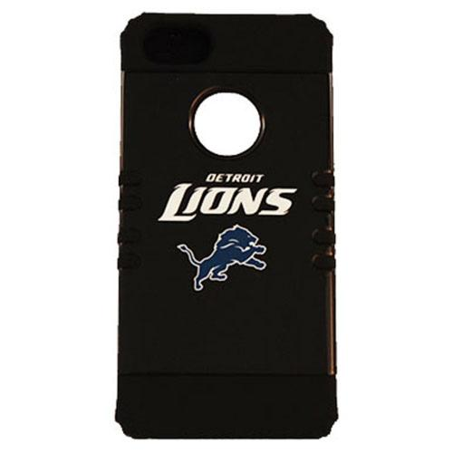 Detroit Lions Rocker Series Black Hard Case Shell on Black Silicone Skin Case for Apple iPhone 5/5S - NFL Licensed