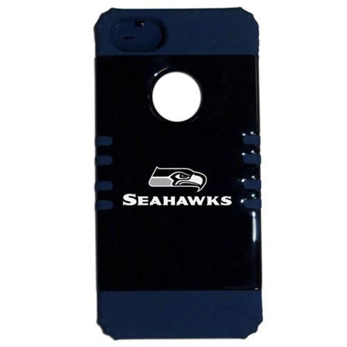 Seattle Seahawks Rocker Series Black Hard Case Shell on Blue Silicone Skin Case for Apple iPhone 5/5S - NFL Licensed
