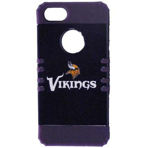 Minnesota Vikings Rocker Series Black Hard Case Shell on Purple Silicone Skin Case for Apple iPhone 5/5S - NFL Licensed
